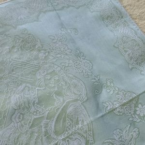 Green 1970s True Love Cherub printed Kerchief